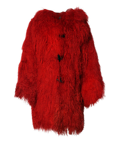 J.Progress: Hirshleifers Red Curly Lambs Wool Hooded Coat - C.Madeleine's