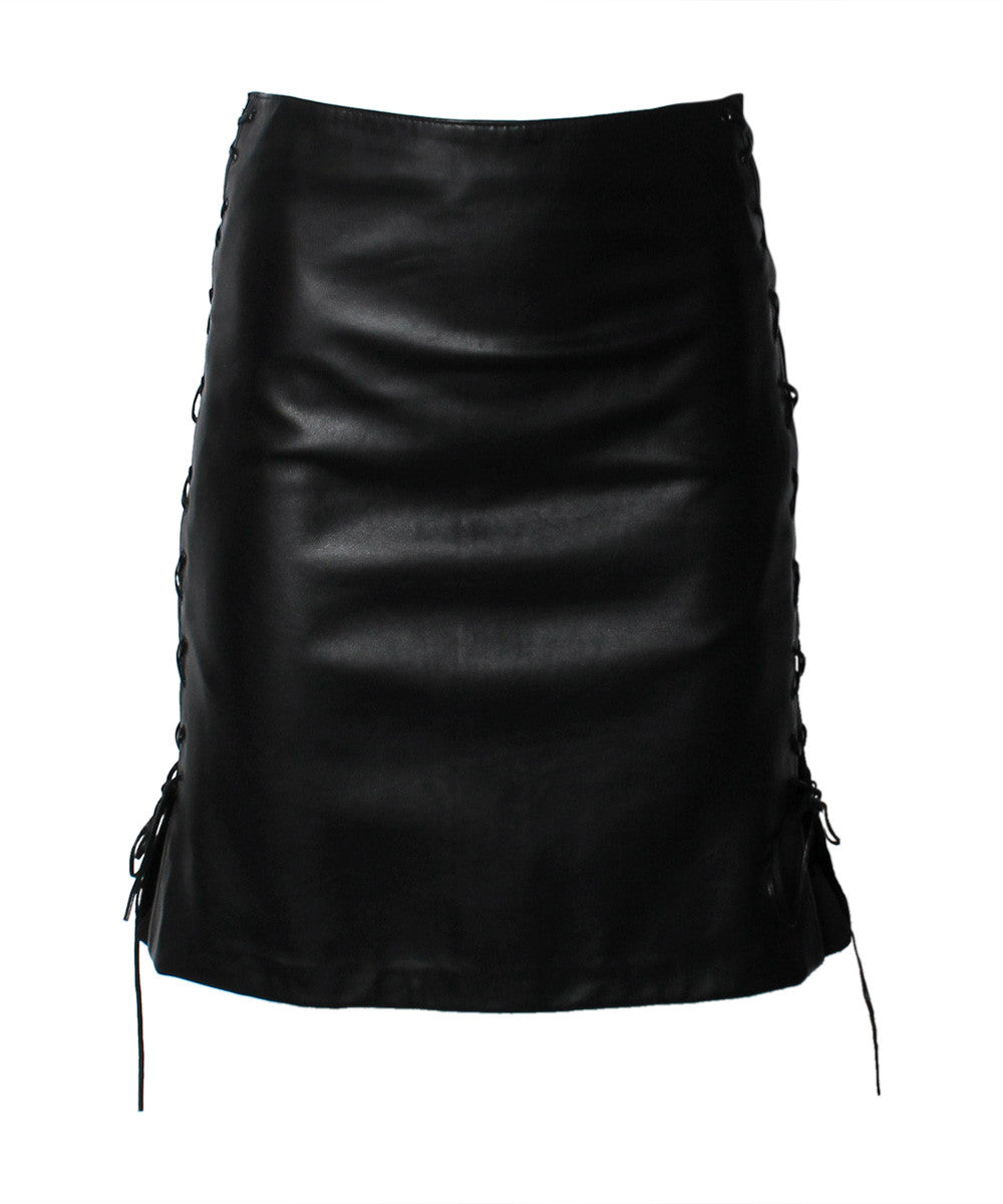 Vakko Black Leather Pencil Skirt with Lace Up Sides - C.Madeleine's