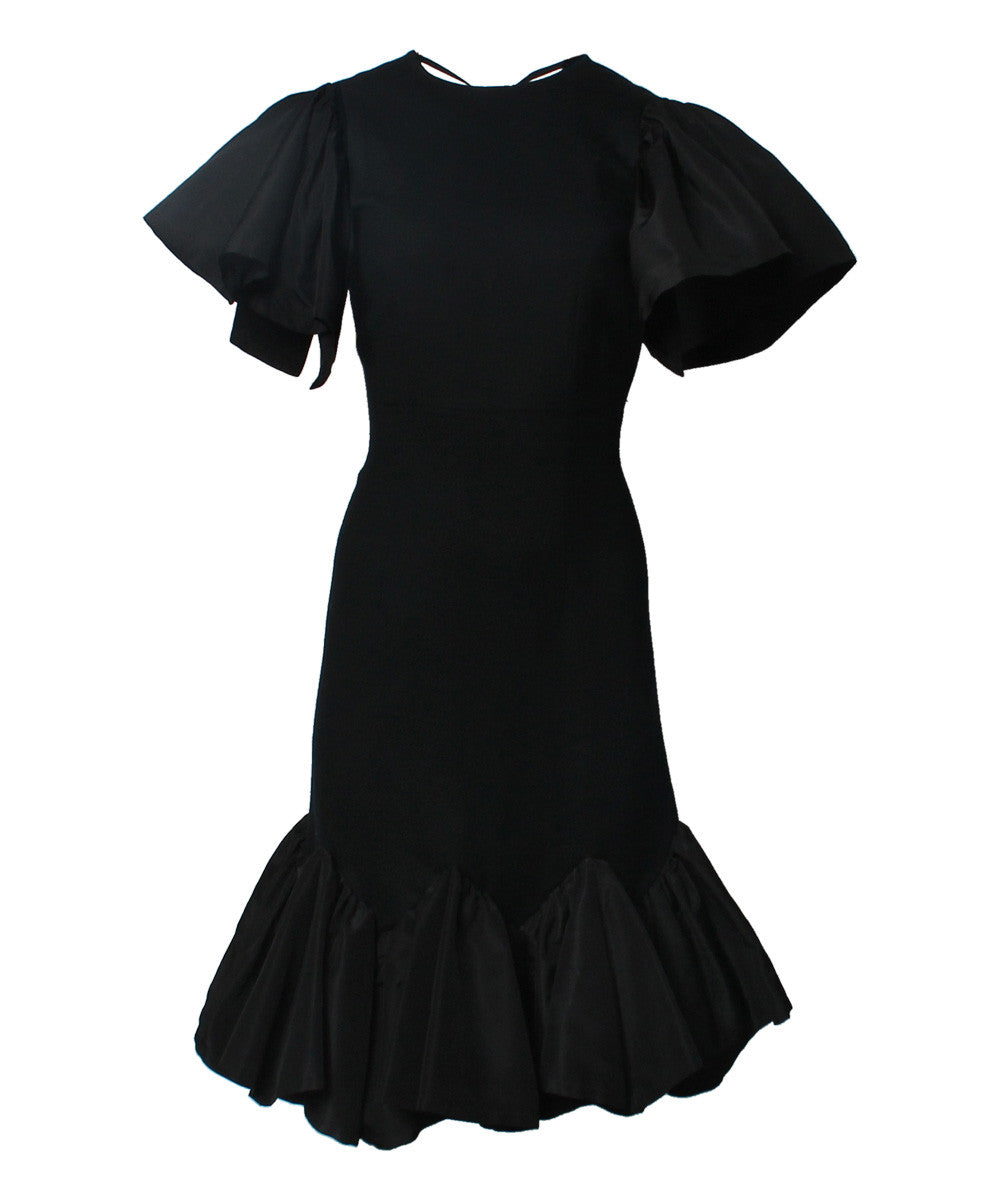 P with auline Trique Black Wool Crepe/Taffeta Cocktail Dress With Cap Sleeves