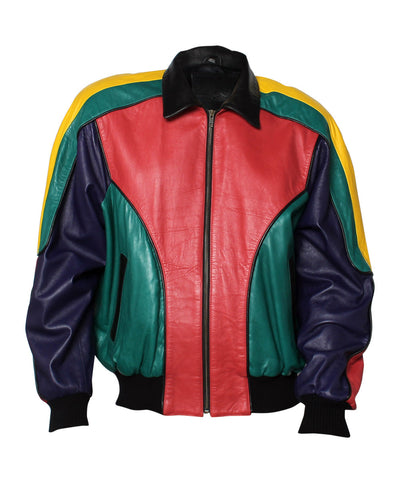 N. Progress- Men's North Beach Wear Multi-Color Color Block Leather Bomber Jacket - C.Madeleine's