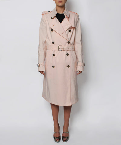 A.PROGRESS-Burberry Light Pink Double Breasted Poplin Trench Coat - C.Madeleine's