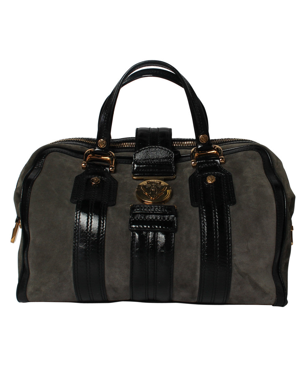 Gucci Grey Aviatrix Suede Boston Overnight Bag with Patent Leather Straps and Gold Detailing