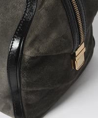 A.PROGRESS- Gucci Grey Aviatrix Suede Boston Overnight Bag with Patent Leather Straps and Gold Detailing - C.Madeleine's