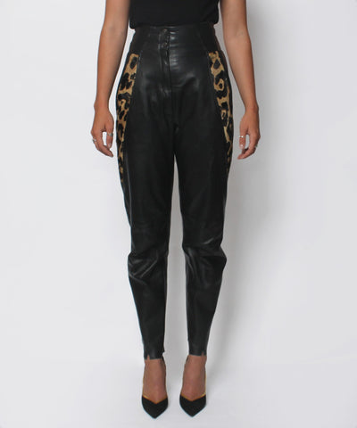 Lillie Rubin 80's Leather and Leopard High Waist Pants - C.Madeleine's