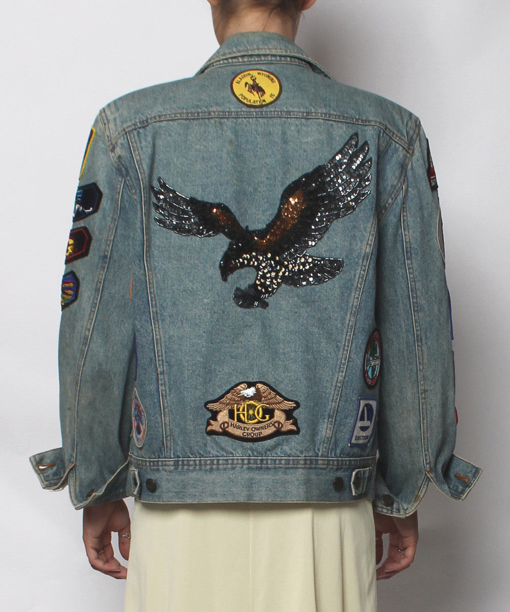 Denim Jean Jacket with Pins & Patches - C.Madeleine's