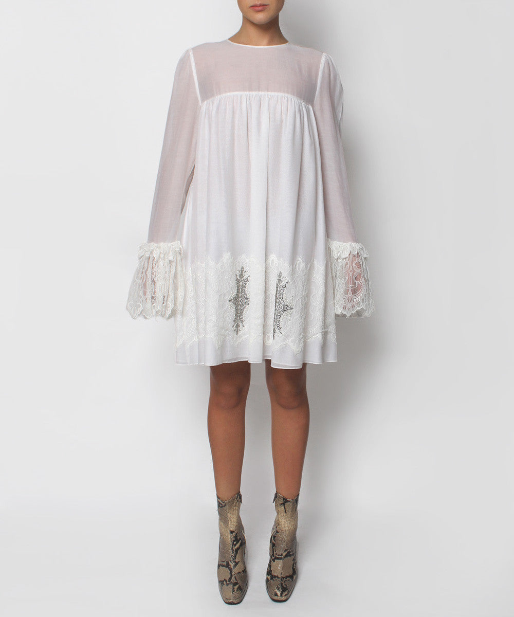 Progress-Thomas Wylde Cream Gauzy Cotton Short Dress - C.Madeleine's
