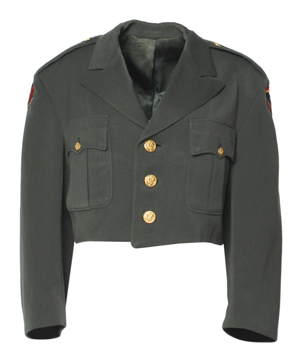 Cropped Green Army Jacket with Paches and Gold Buttons