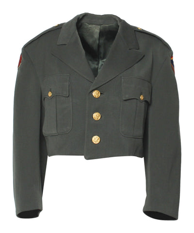 Cropped Green Army Jacket with Paches and Gold Buttons - C.Madeleine's