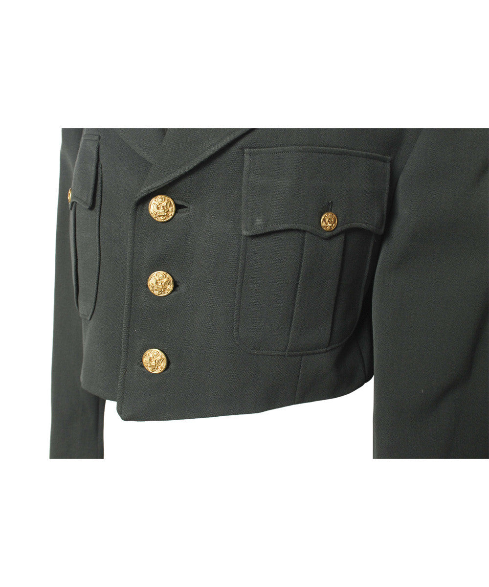 A.PROGRESS-Cropped Green Army Jacket with Paches and Gold Buttons - C.Madeleine's