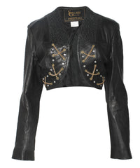 Cropped Black Leather Jacket with Black Beading Rhinestones and Gold Chains