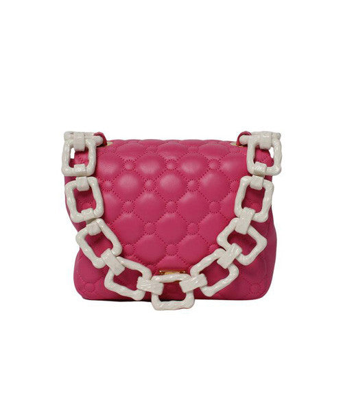Moschino Pink Quilted Leather Mini Shoulder Bag