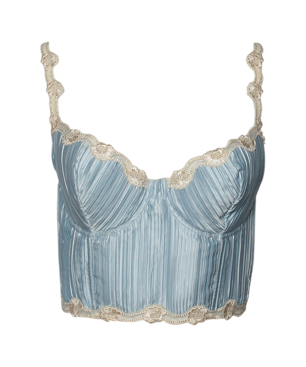PROGRESS- La Perla Light Baby Blue Pleated Lace Trim Cropped Bustier Top - C.Madeleine's