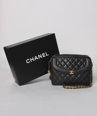 Progress- Chanel Quilted Caviar Leather Front Pocket Shoulder Purse - C.Madeleine's