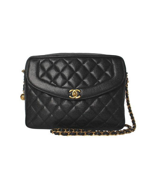 Chanel Black Quilted Caviar Leather Shoulder Purse
