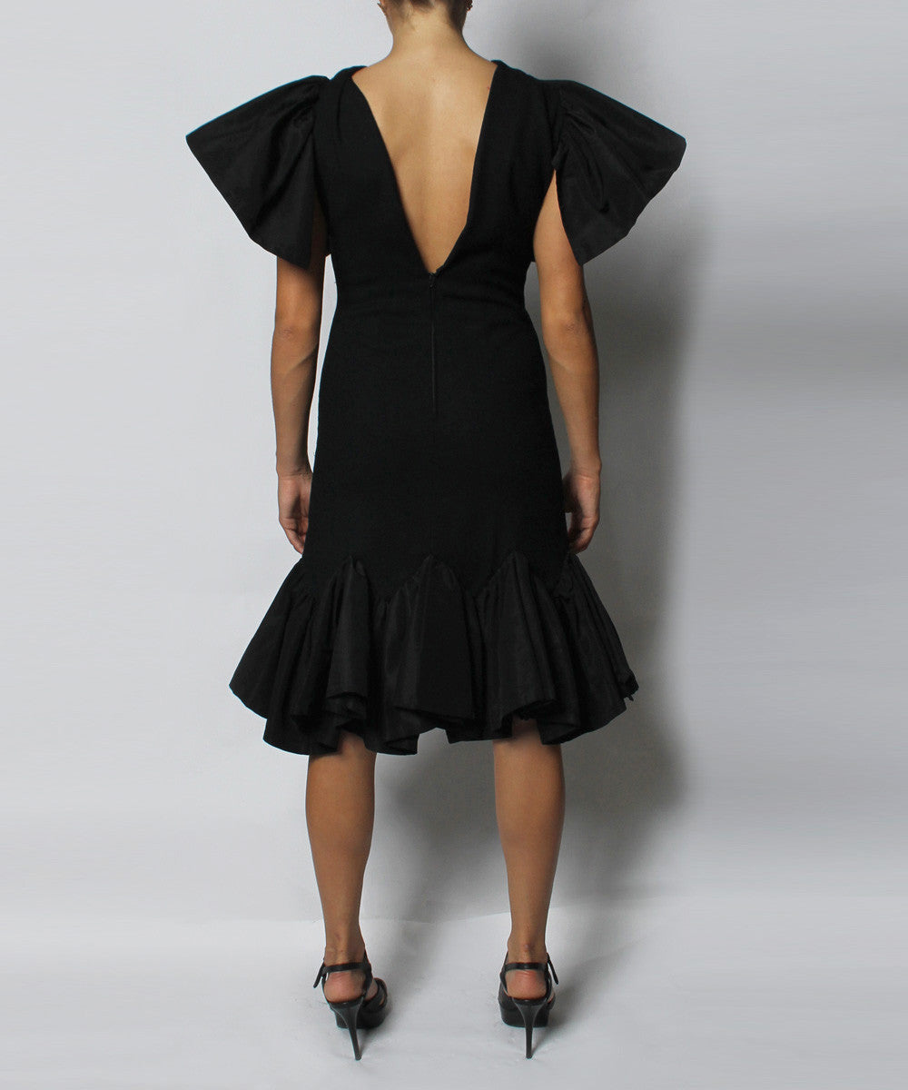 A.PROGRESS- Pauline Trigere Black Wool Crepe Cocktail Dress With Taffeta Trim - C.Madeleine's