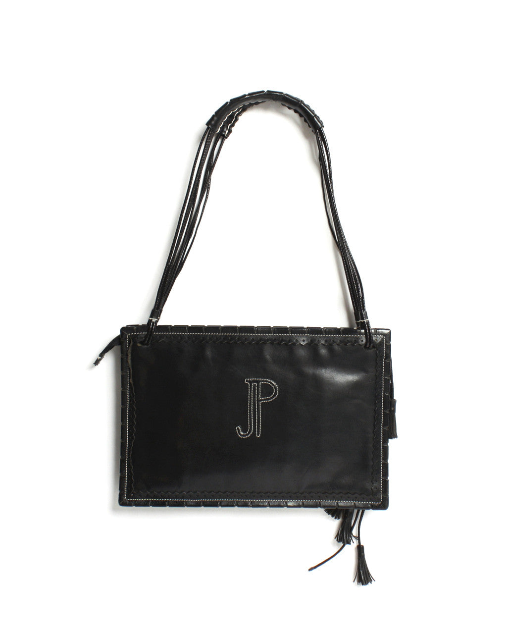 Jean Paul Gaultier Black Leather Shoulder Bag With Zig-Zag Stitching