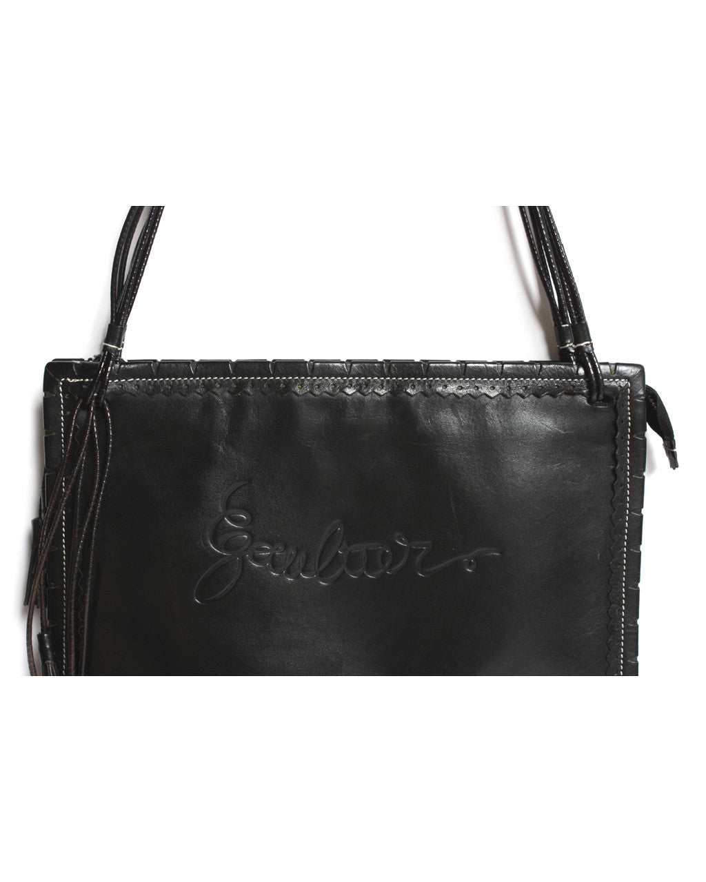 Jean Paul Gaultier Black Leather Shoulder Bag With Zig-Zag Stitching - C.Madeleine's