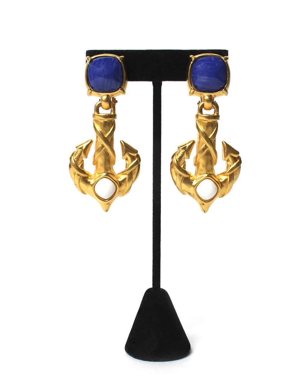 Karl Lagerfeld Gold Matte Stylized Anchor Clip On Earrings