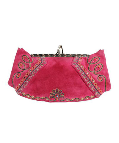 Christian Louboutin Pink Suede Embroidered Bag