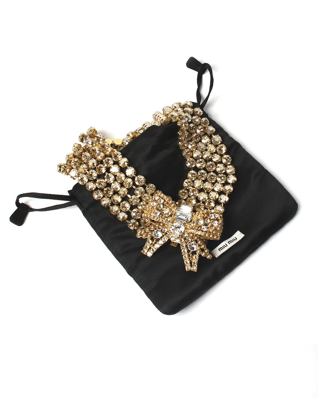 Miu Miu Swarovski Crystal Oversized Bow Necklace