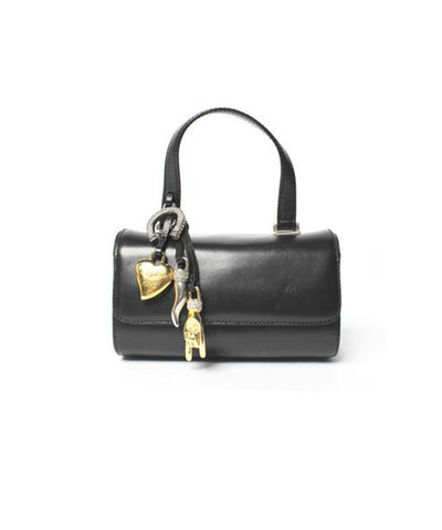 Moschino Black Leather Mini Handbag with Hanging Charms