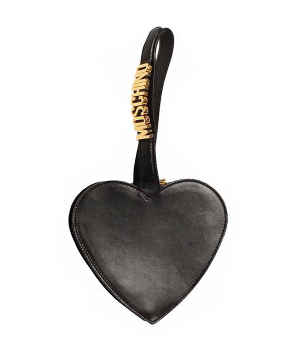 Moschino Black Heart Leather Wristlet