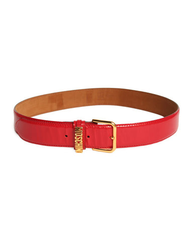 Moschino Red Patent Leather Belt