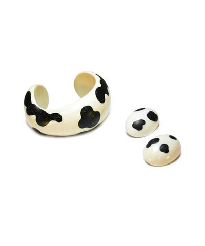 Patricia von Musulin 1980s Ivory Cuff and Earrings Set
