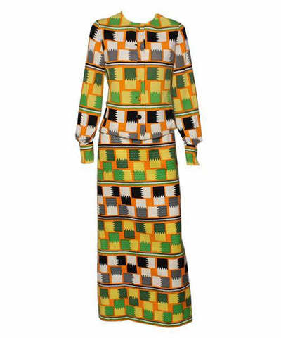 Philippe Venet 1970s Zig Zag Skirt Set