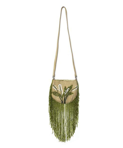 Valentino Beaded Fringe Burlap Mini Hobo Shoulder Purse