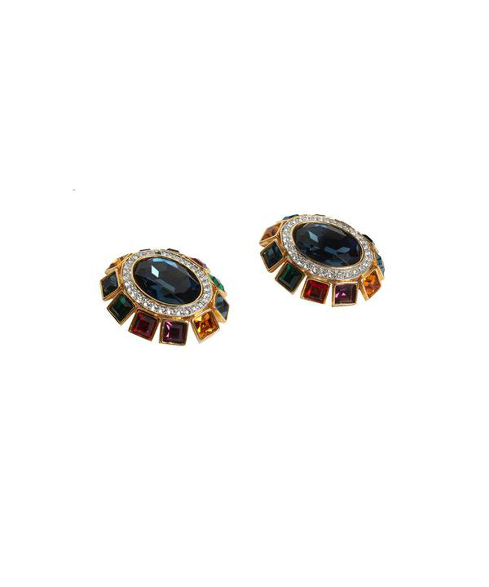 Valentino 1980s Multicolored Glass Clip-on Earrings
