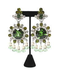 Lawrence VRBA Oversized Rhinestone Chandelier Earrings