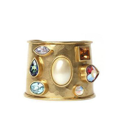 Yves Saint Laurent Gold Cuff with Stones - C.Madeleine's