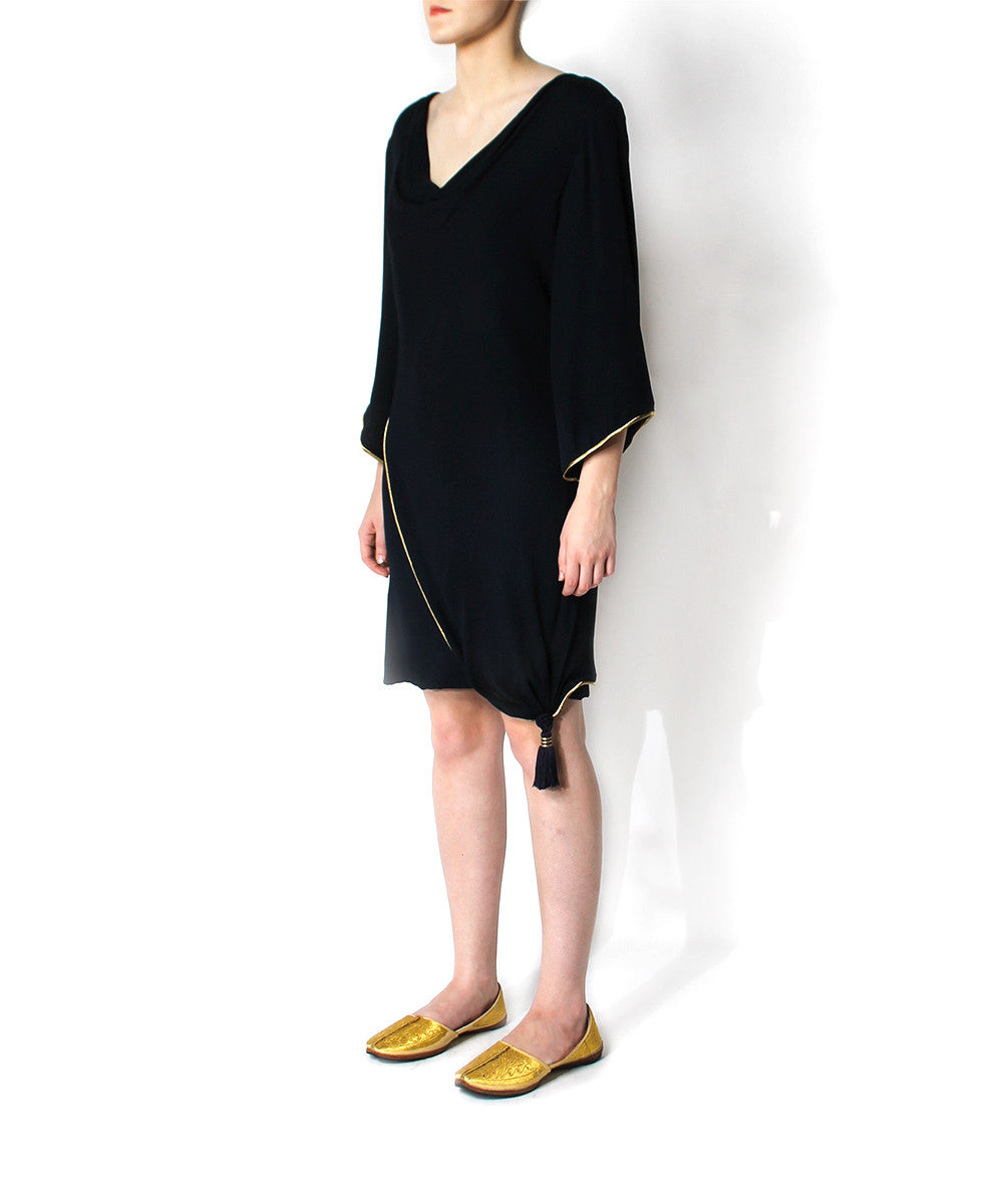 Pierre Balmain 1980s Navy Cowl Neck Cocktail Dress - C.Madeleine's