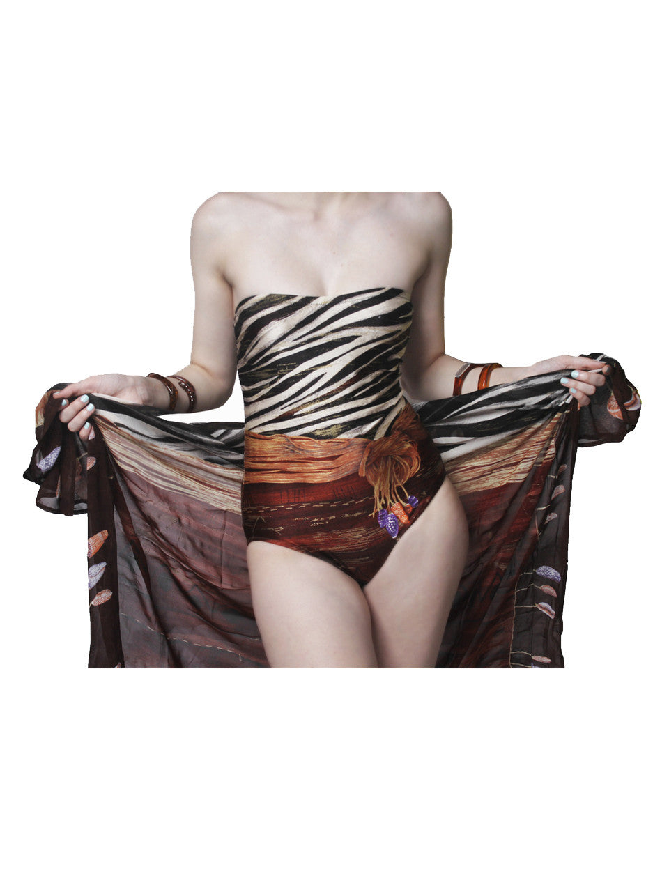 Gottex Zebra & Seashell Print Bathing Suit & Matching Sarong