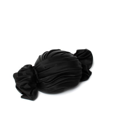 Christian Dior Black Satin Ruched Turban with Two Points