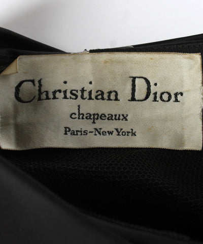 Christian Dior Black Satin Ruched Turban with Two Points - C.Madeleine's