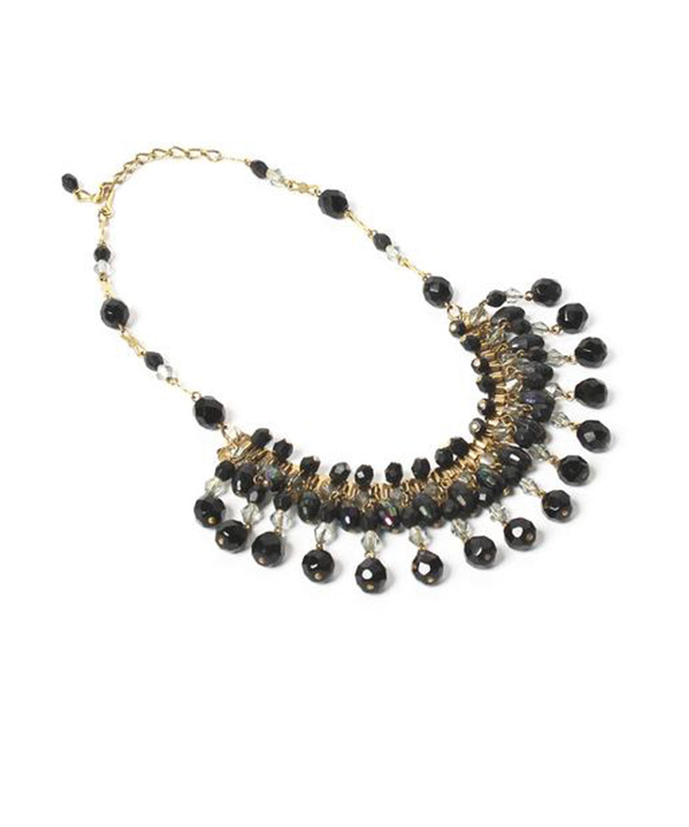 Ornella Bijoux Black & Crystal Faceted Glass Beads Choker