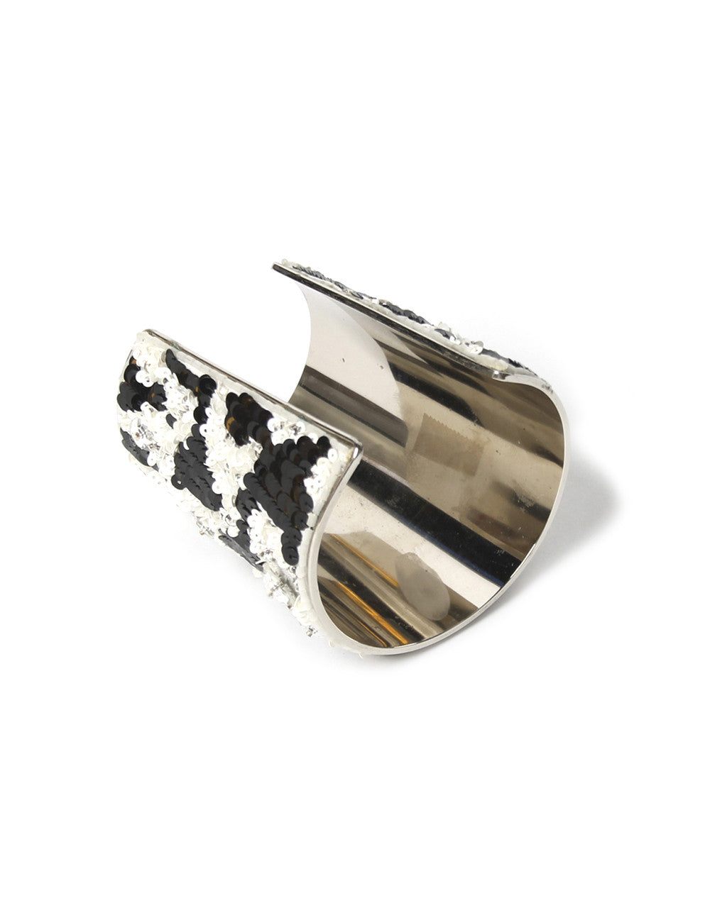 Lesage Black and White Sequin Cuff and Earring Set