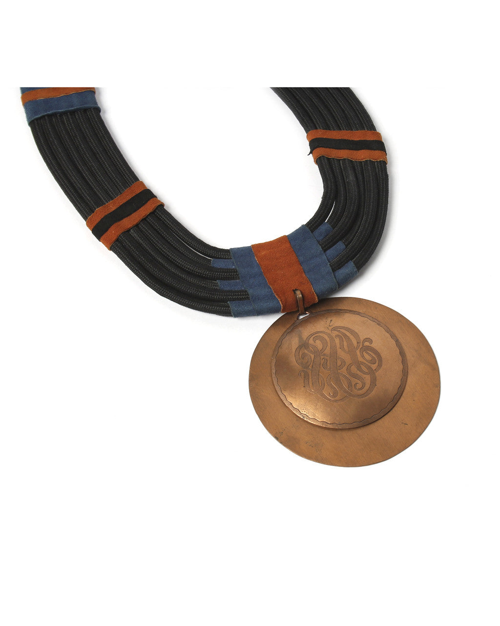Woven Rope Copper Medallion Necklace - C.Madeleine's