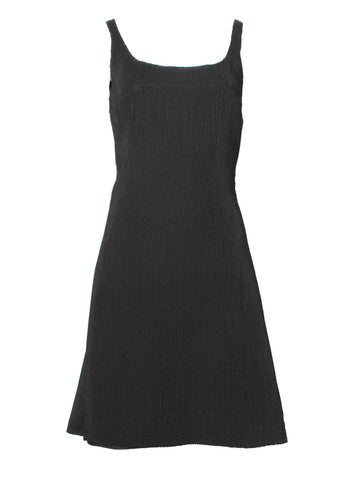 Versus Versace Black Pleated Silk Shift Dress & Symmetrical Cutout