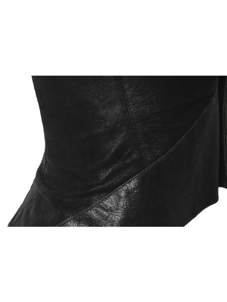 Rick Owens Black Leather Fitted Vest