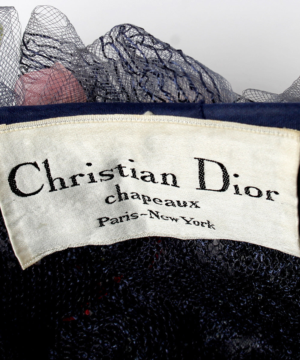 Christian Dior 1960s Woven Floral Raffia and Ribbon Hat - C.Madeleine's