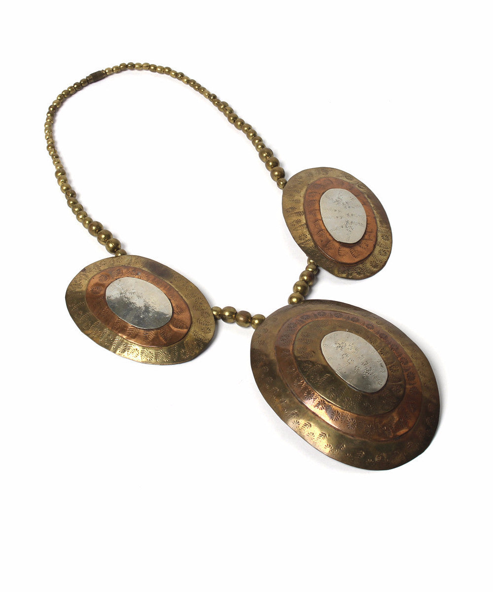 Bronze Copper and Silver Medallion Necklace
