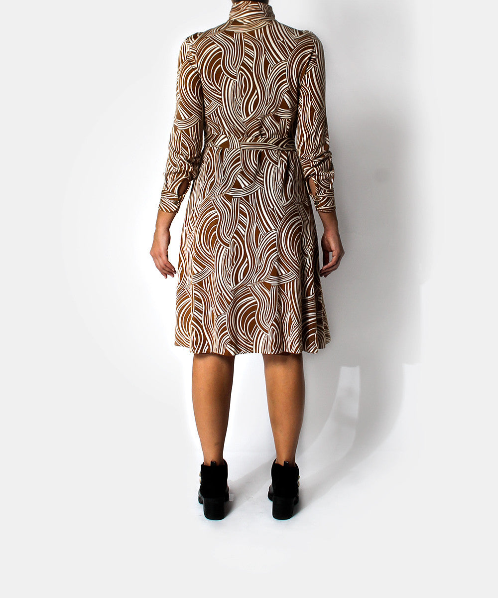 Diane Von Furstenberg 1970s Brown & White Swirl Zip Up Dress - C.Madeleine's