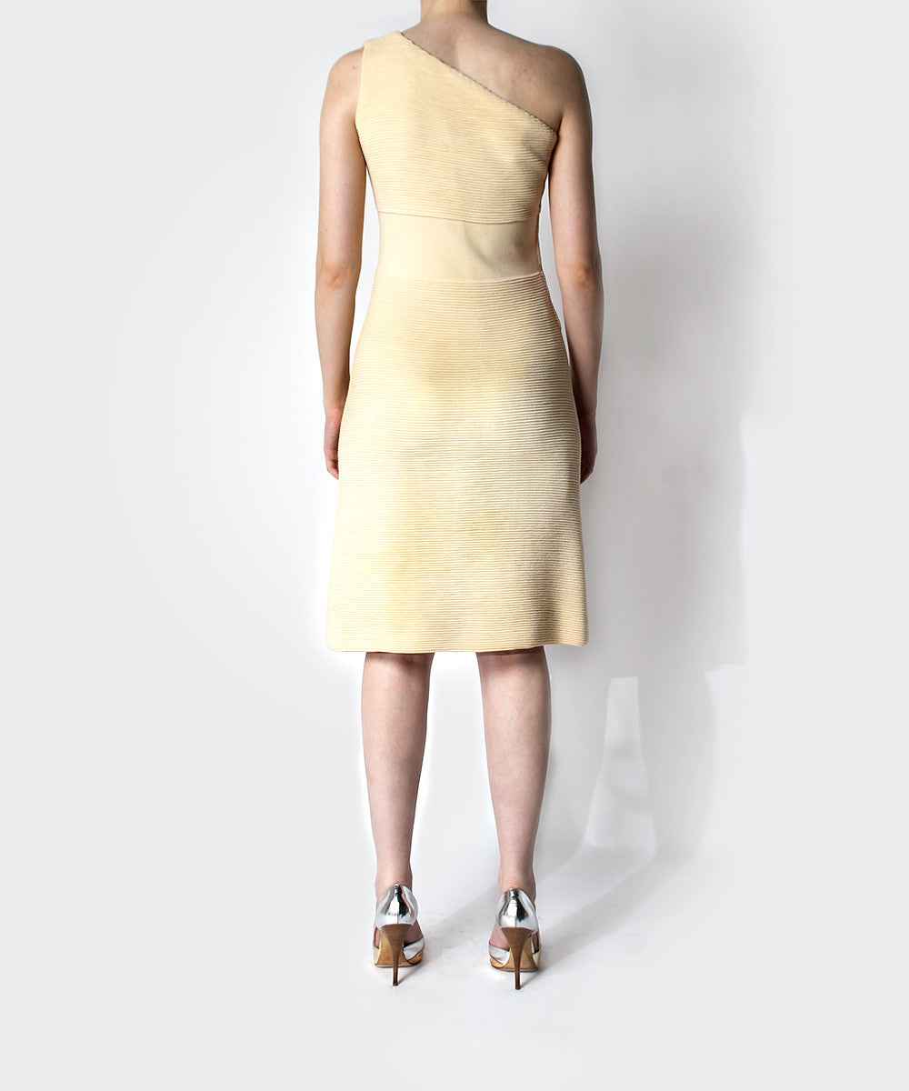 Cream Asymmetrical One Shoulder Knit Dress - C.Madeleine's