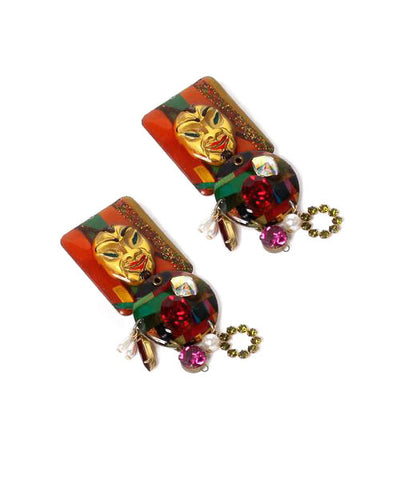 Yves Saint Laurent 1990s Red Glass Center Earrings