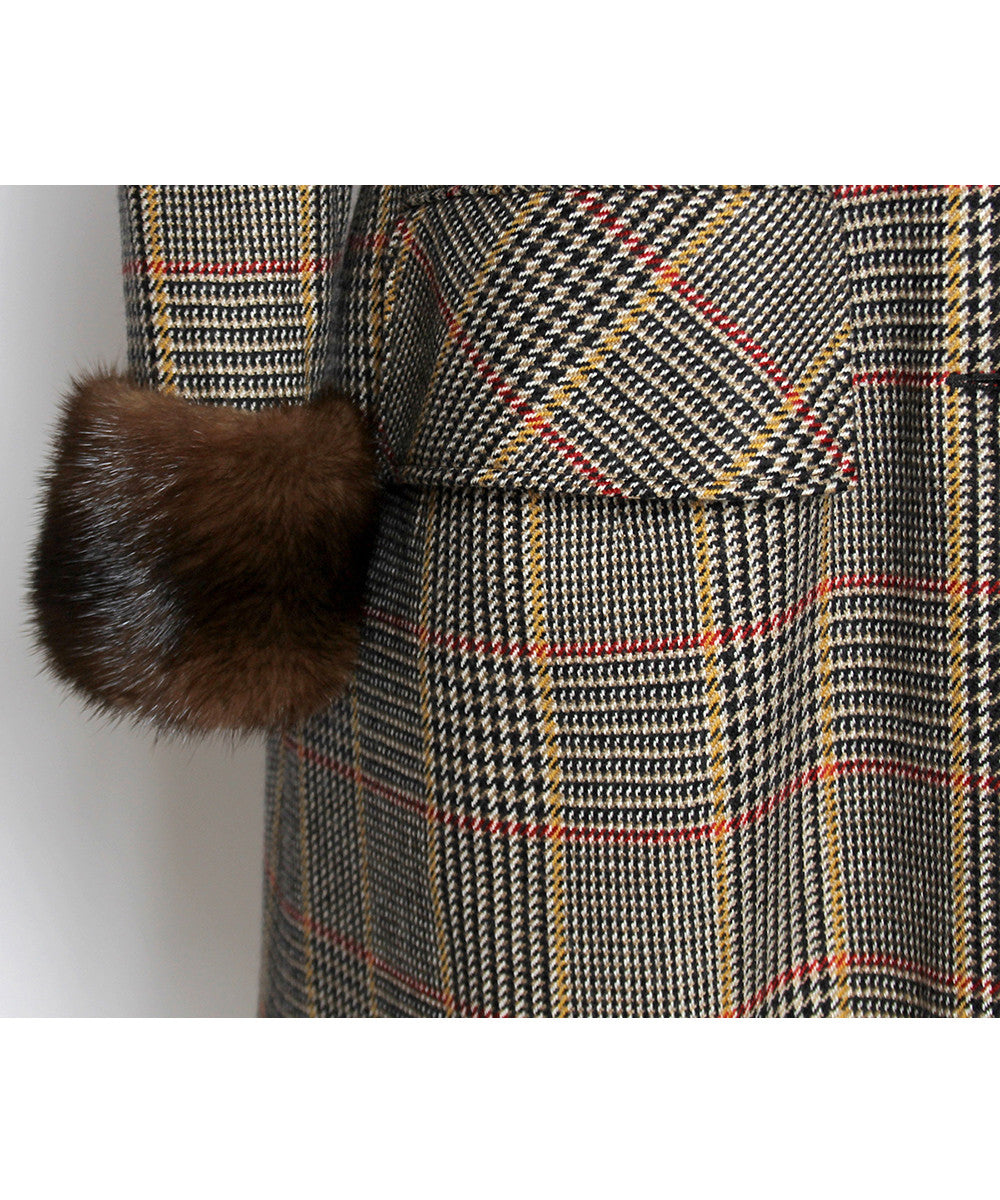 Valentino Boutique Cashmere Houndstooth Princess Style Coat Dress - C.Madeleine's