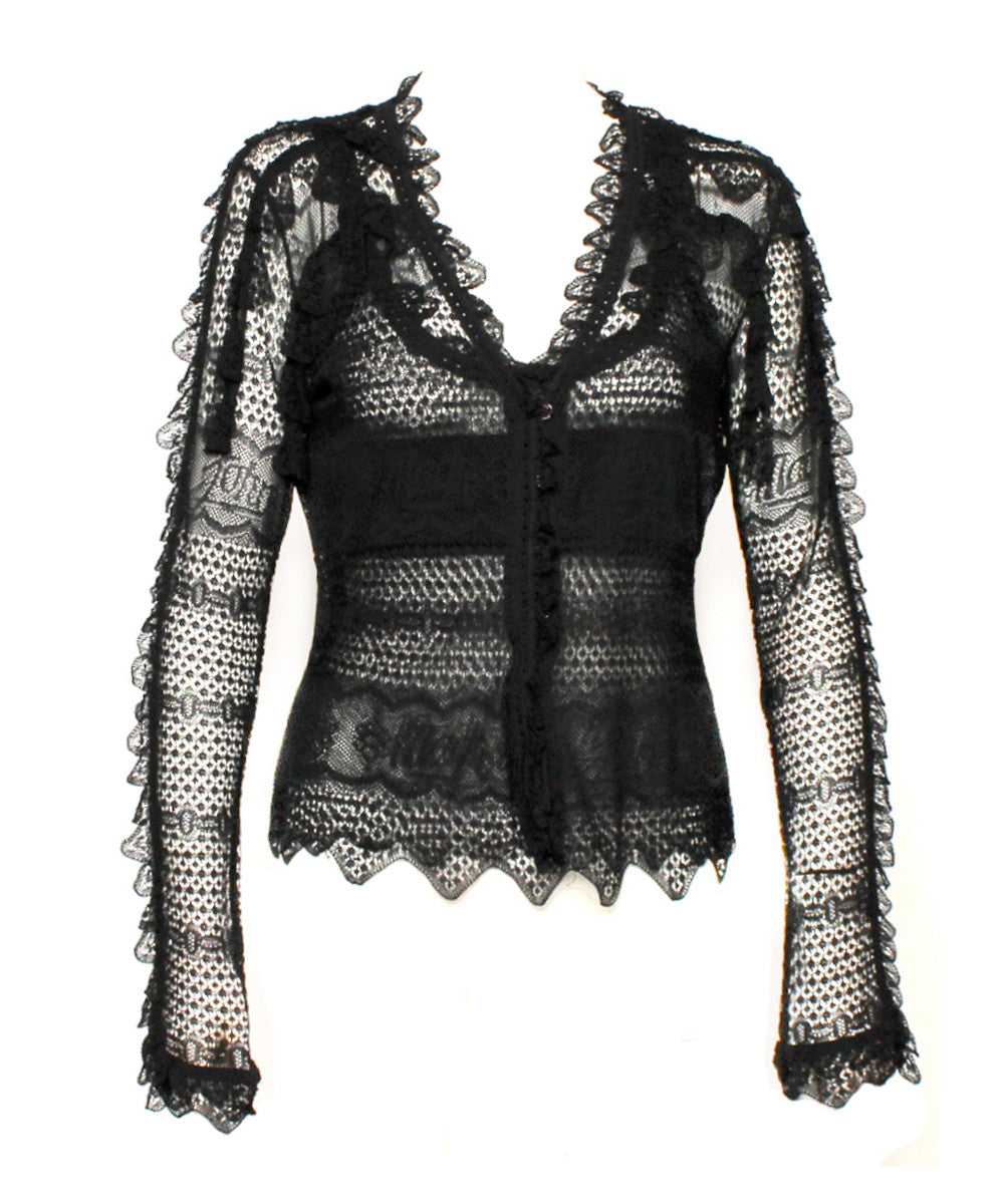 John Galliano Lace Shell And Cardigan