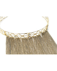 Gold Tone Wire Choker Necklace with Mesh Strands